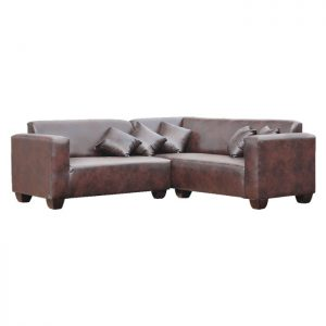 Corner-Lounge-suite---Fabric-Brown-leather-Look